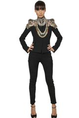 Alexander Mcqueen Jewelled Leaf Viscose Crepe Jacket in Black - Lyst