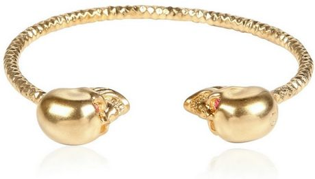 Alexander Mcqueen Twin Skull Brass Bracelet in Gold