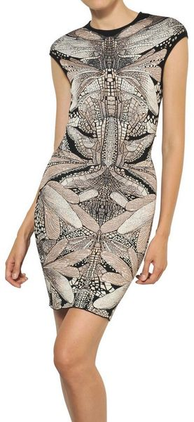 Alexander McQueen Dragonfly Jacquard Wool Silk Dress - Lyst