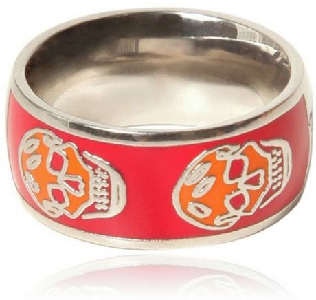 Alexander Mcqueen Enamel and Brass Skull Ring in Red - Lyst