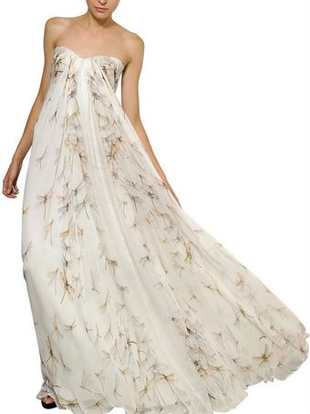 Alexander McQueen Dragon Fly Print Silk Chiffon Long Dress - Lyst