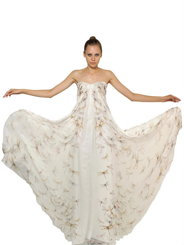 Alexander Mcqueen Dragon Fly Print Silk Chiffon Long Dress