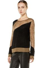 Alice + Olivia Opal Novelty Stitch Crewneck Sweater  in Brown (beige & black) - Lyst