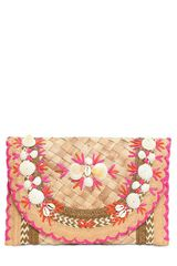 Anya Hindmarch Ipanema Shells Woven Straw Raffia Clutch - Lyst