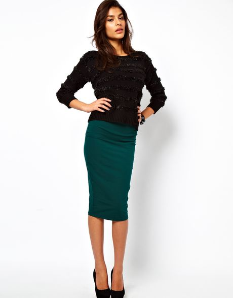 asos collection asos pencil skirt in longer length in