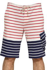 Band Of Outsiders Cotton Jersey Striped Bermuda Shorts - Lyst