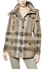 Burberry Brit Checked Nylon Parka Jacket - Lyst