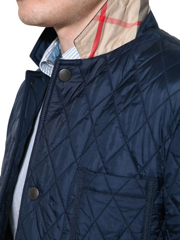 Burberry Brit Quilted Nylon Jacket In Blue For Men Lyst