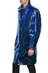 Burberry Prorsum Metallic Paper Silk Oversize Trench Coat in Blue for Men - Lyst