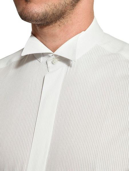 Canali oxford wing tip cotton tuxedo shirt in white for for Tuxedo shirt wing tip