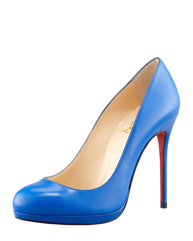 621c78c1d39 Lyst - Christian Louboutin Filo Leather Red Sole Pump Blue Sapphire ...