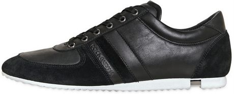 Dolce & Gabbana Australia Leather Crust Sneakers in Black for Men (black/white) - Lyst