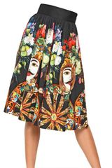 Dolce & Gabbana Printed Cotton Poplin Skirt - Lyst