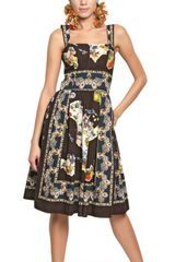 Dolce & Gabbana Sicily Printed Cotton Poplin Dress - Lyst