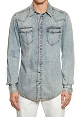 Dolce & Gabbana Bleached Cotton Denim Shirt - Lyst