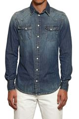 Dolce & Gabbana Washed Cotton Denim Shirt - Lyst