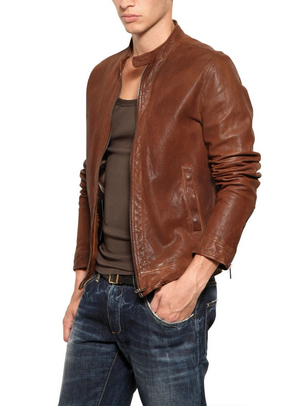 Dolce & gabbana Perforated Leather Biker Jacket in Brown for Men ...