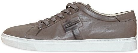 Dolce & Gabbana Messico Washed Leather Sneakers in Gray for Men (dove grey) - Lyst