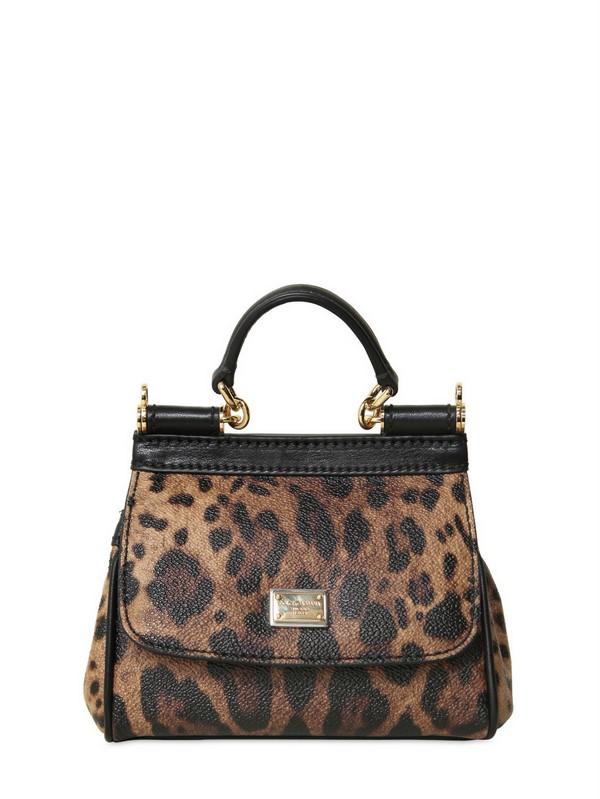 4580cacbb7 Lyst - Dolce   Gabbana Mini Miss Sicily Leopard Print PVC Bag in Brown