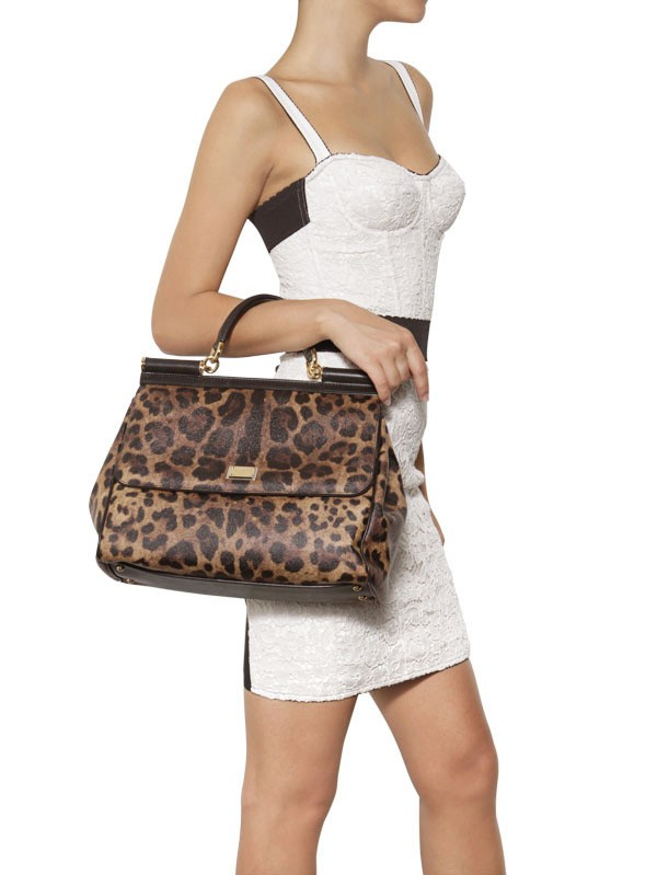 c8dd63ce8df8 Dolce   Gabbana Miss Sicily Leopard Print Pvc Top Handle - Lyst