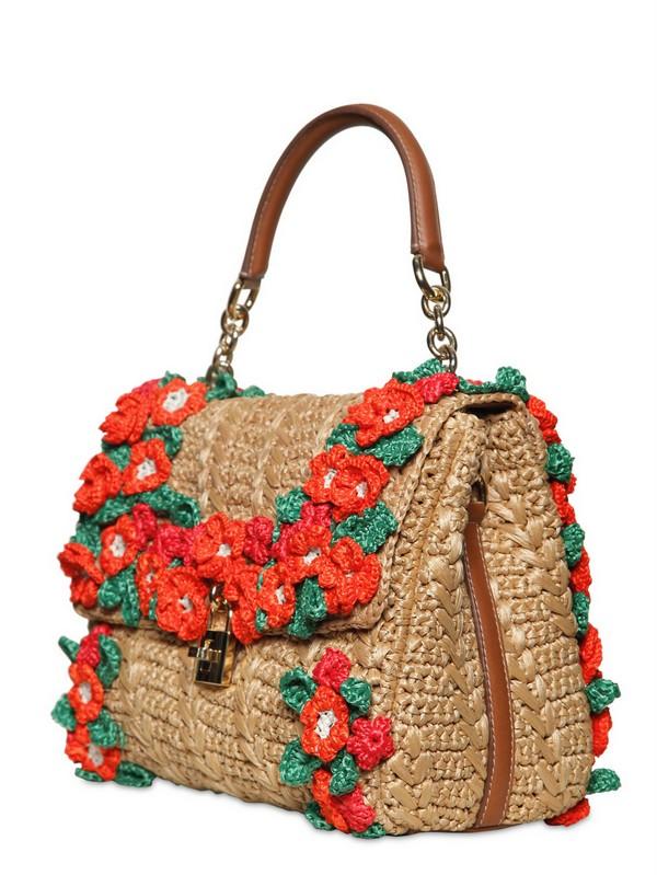 Dolce Amp Gabbana Crochet Raffia Dolce Bag Top Handle In