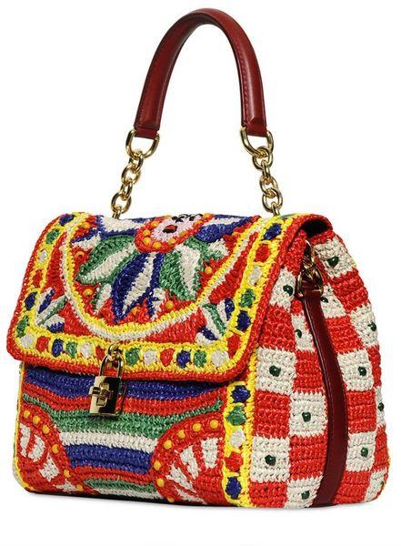 dolce gabbana dolce bag crochet raffia top handle in