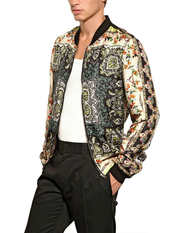 Dolce & gabbana Printed Silk Bomber Jacket for Men | Lyst