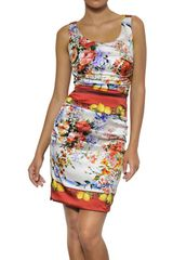 Dolce & Gabbana Printed Silk Satin Dress - Lyst
