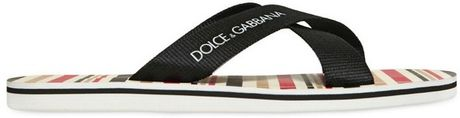 Dolce & Gabbana Pvc Striped Criss Cross Flip Flops in Black for Men (multi black) - Lyst