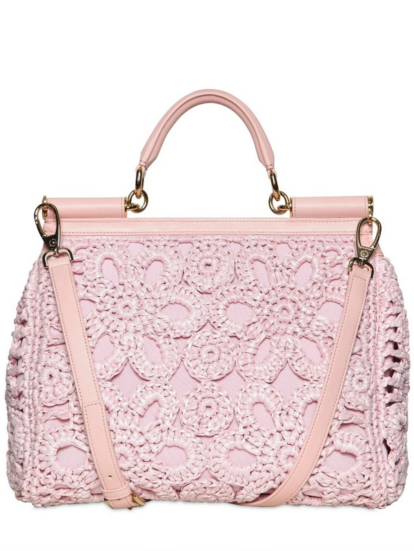 58332f1d597d Lyst - Dolce   Gabbana Miss Sicily Crochet Raffia Canvas Bag in Pink