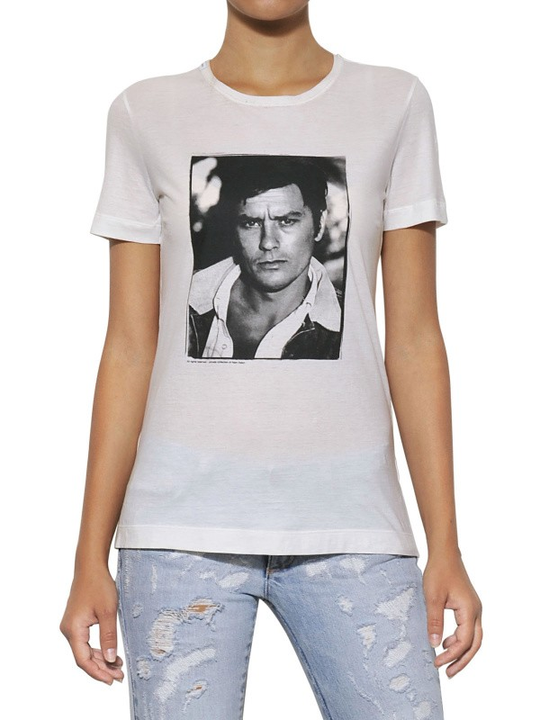 b5421e68325874 Lyst - Dolce   Gabbana Alain Delon Print Cotton Jersey T-shirt in White