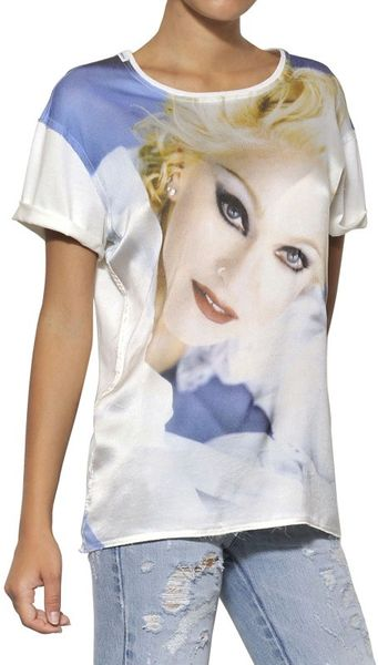 Dolce gabbana madonna silk satin cotton jersey t shirt for Silk white t shirt
