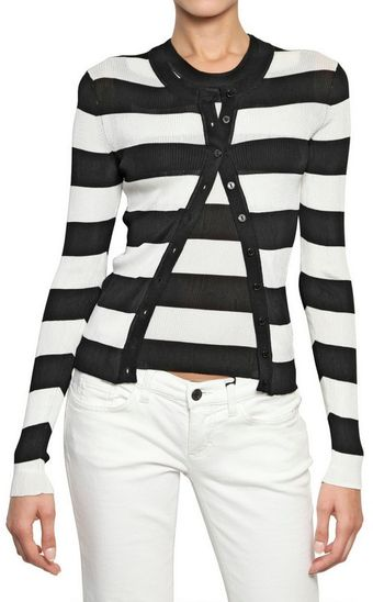 Dolce & Gabbana Striped Ribbed Knit Viscose Cardigan - Lyst