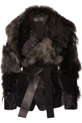 Donna Karan New York Patchwork Shearling Coat - Lyst