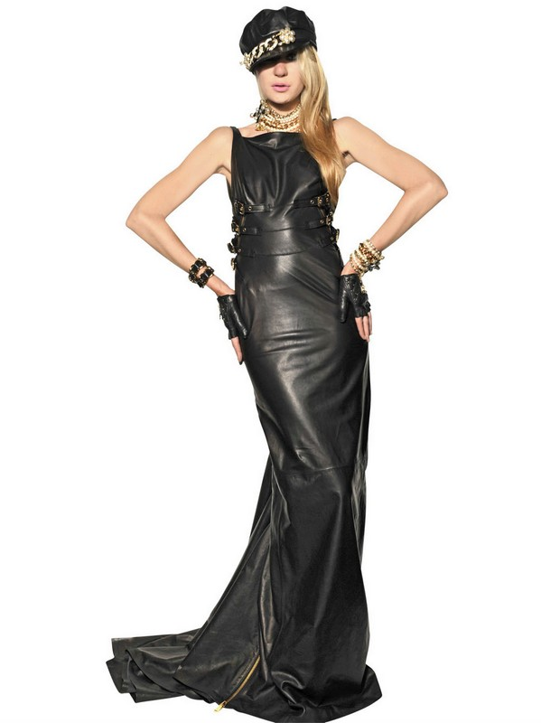 Dsquared 178 Zipped Nappa Leather Long Dress In Black Lyst