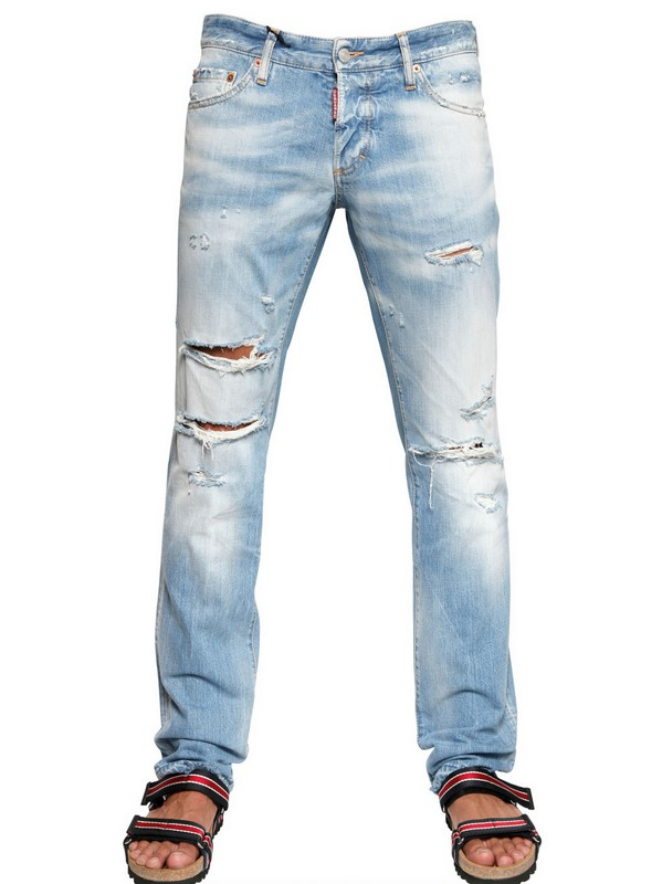 Dsquared² Beach Slim Fit Destroyed Jeans in Blue for Men | Lyst