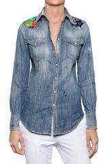 DSquared2 Embroidered Cotton Denim Shirt