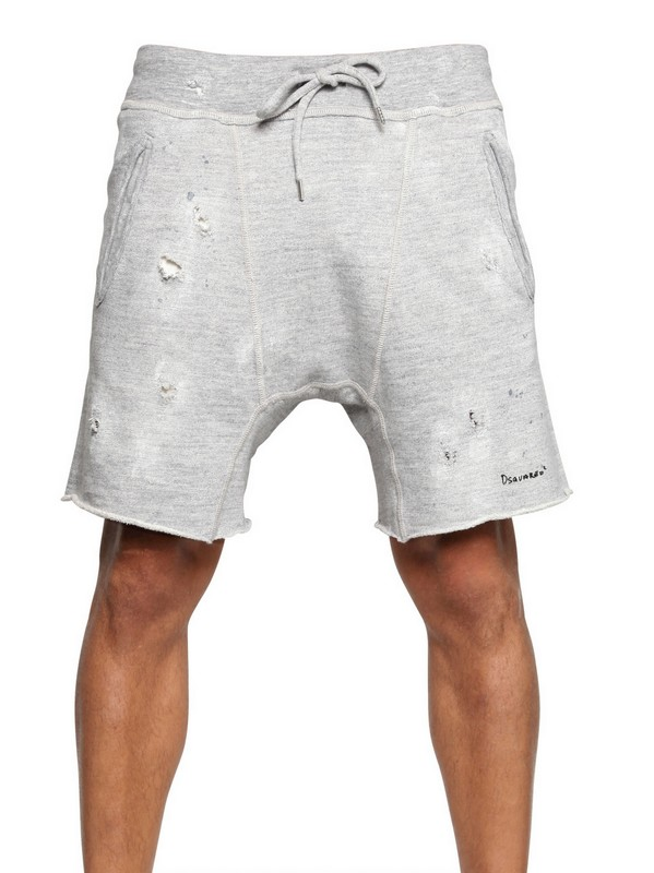 071124a9f DSquared² Raw Cut Distressed Cotton Fleece Shorts in Gray for Men - Lyst