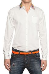 DSquared2 Printed Collar Cotton Poplin Shirt - Lyst