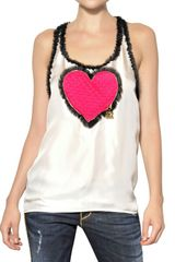 DSquared2 Quilted Heart On Silk Twill Top - Lyst