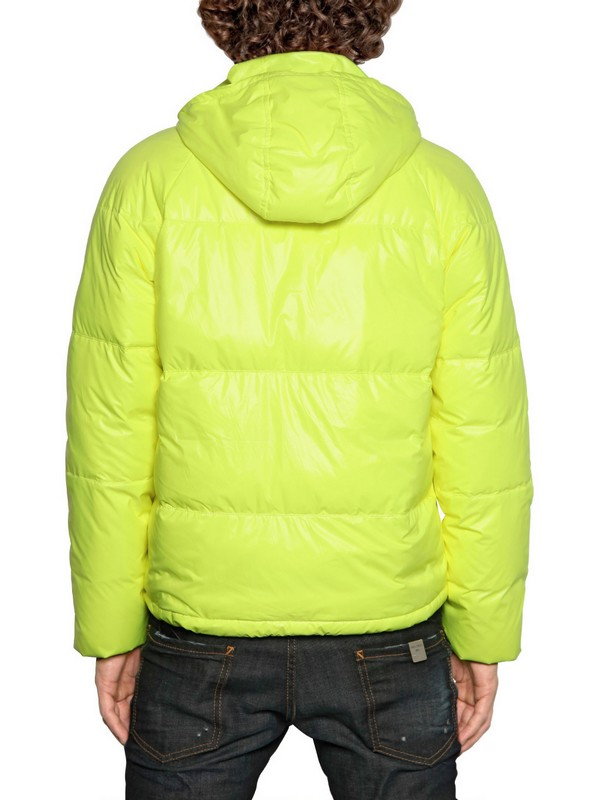 Dsquared 178 Puffy Kway Padded Nylon Down Jacket In Yellow
