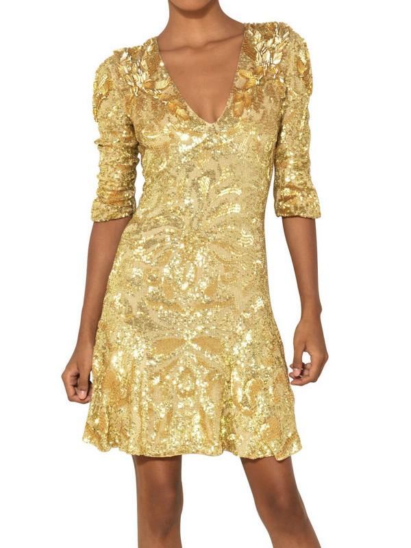 Lurex kleid gold