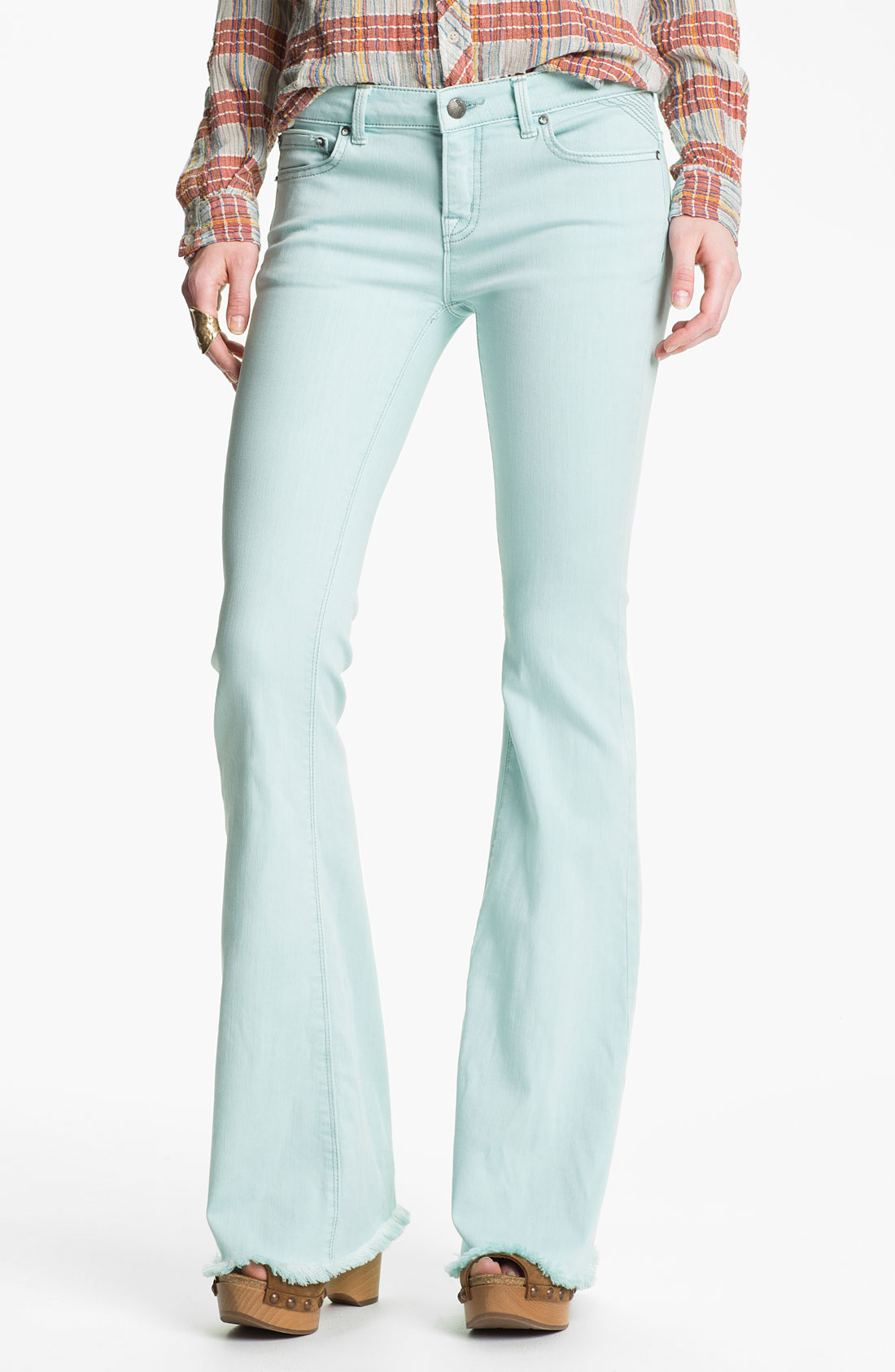 Free people Millennium Colored Denim Bootcut Jeans Pale Blue in ...
