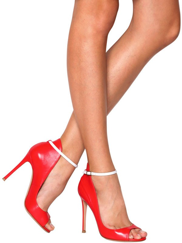 Gianvito rossi Nappa Leather Open Toe Pumps in Red | Lyst