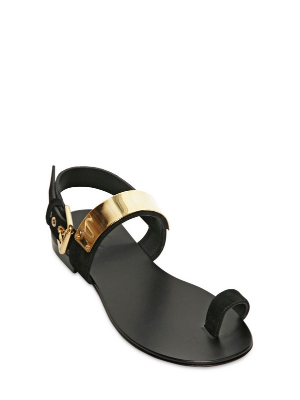 2f6e776b30186 ... denmark lyst giuseppe zanotti velour and gold plaque thong sandals in  15ca1 bff35