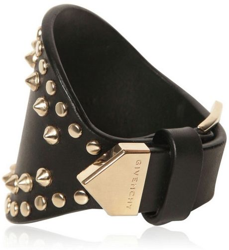 Givenchy Studded Leather Cuff Bracelet In Gold Black Lyst