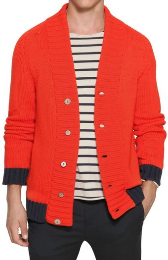 Iceberg Contrasting Edge Cotton Knit Cardigan - Lyst