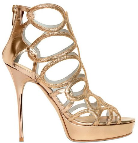 Jimmy Choo 120mm Blast Glitter Leather Sandals in Gold (nude)