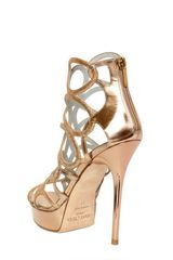Jimmy Choo 120mm Blast Glitter Leather Sandals in Gold (nude) - Lyst