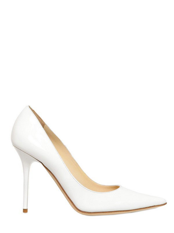 simple wedding shoes jimmy choo 100mm abel patent leather pointy pumps in white 7524
